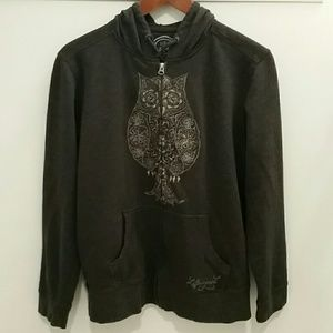 Life Is Good Embroidered Owl Zip-up Hoodie Large